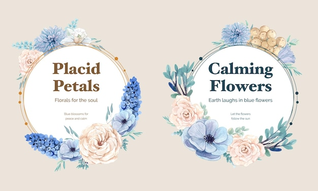 Modello di ghirlanda con concetto pacifico di fiori blu, stile acquerello Vettore Premium