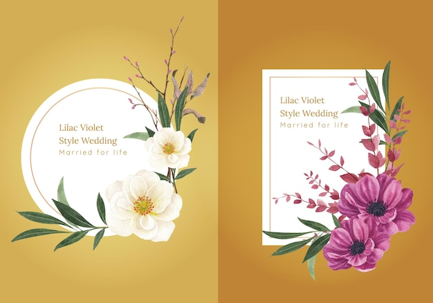 Modello di ghirlanda con concetto di matrimonio viola lilla,stile acquerello