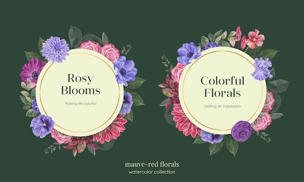 Modello di ghirlanda con concetto floreale rosso muave, stile waterolor