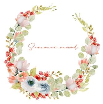 Ghirlanda di piante primaverili dell'acquerello teneri fiori di campo rosa e rossi, vegetazione e rami di eucalipto