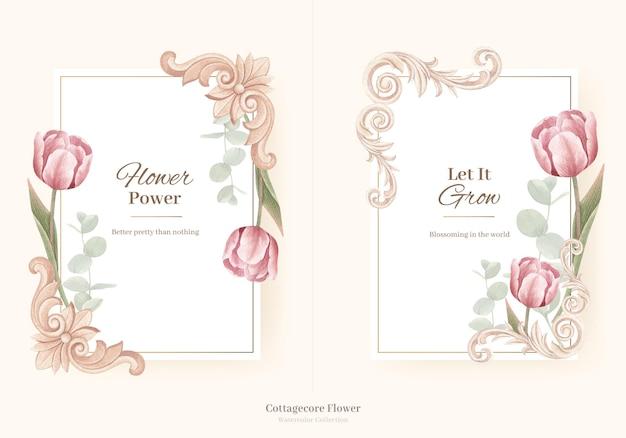 Corona con il concetto di fiori cottagecore, stile acquerello