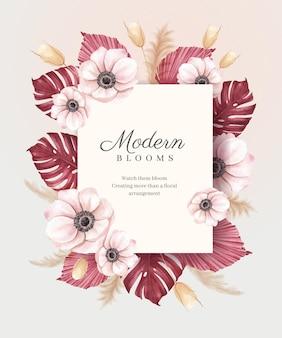 Ghirlanda con acquerello floreale di pampa