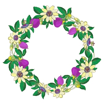 Ghirlanda con passiflora, passiflora, violetta. cornice floreale su sfondo bianco. elemento per scrapbooking, invito, biglietto di auguri, libro e diario, decoupage, weddingbirthday