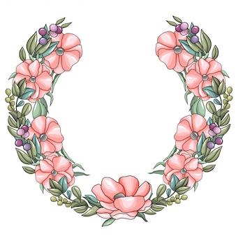 Ghirlanda con fiori di anemone rosa e rami di eucalipto Vettore Premium