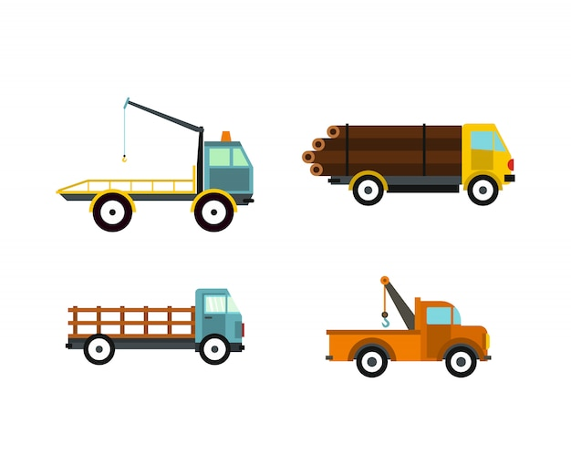 Set di icone di wrecker. insieme piano della raccolta delle icone di vettore del demolitore isolato