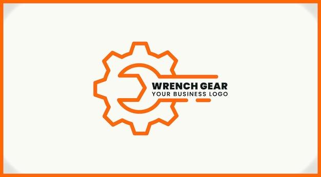 Design del logo dell'ingranaggio della chiave inglese, logo di ispirazione per officina, industria e altri servizi