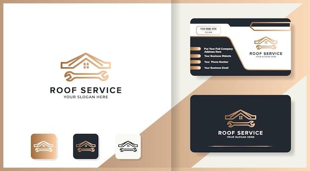 Modello di logo del tetto della casa della chiave inglese e design del biglietto da visita