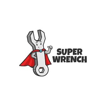 Un eroe della mascotte della chiave inglese o un supereroe idraulico che tiene una chiave o una chiave e che fa il pollice in su. logo della mascotte.