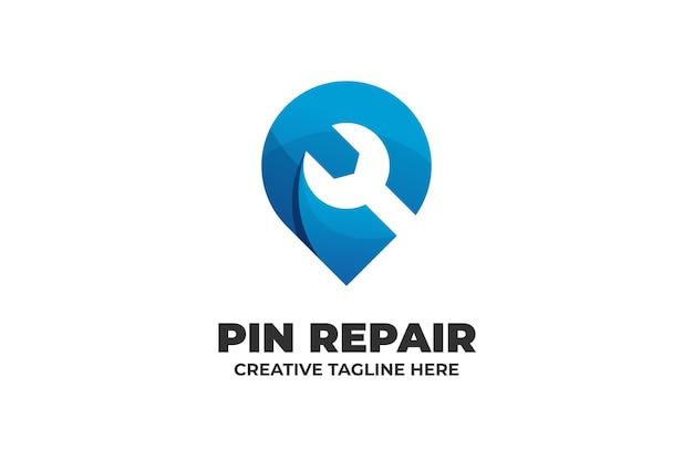 Modello di logo del servizio di riparazione della chiave inglese