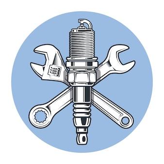 Chiavi e candela. chiave regolabile. strumenti e riparazione.