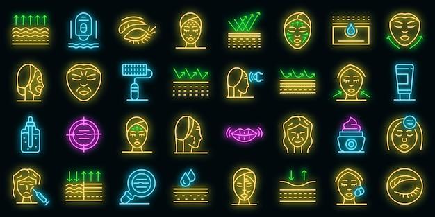 Set di icone di rughe. contorno set di rughe icone vettoriali colore neon su nero