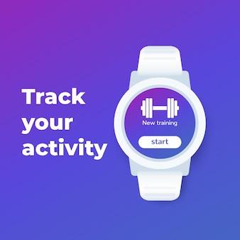 Orologio da polso con app per il fitness, design dell'interfaccia utente,