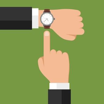 Orologio da polso a portata di mano con uomo d'affari che mostra il tempo sul suo orologio, controllando l'ora o il simbolo della scadenza