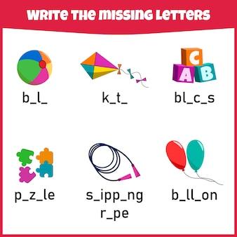 Scrivi la lettera mancante. foglio di lavoro per l'istruzione. compila la lettera mancante. mini-gioco per bambini.