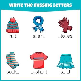 Scrivi la lettera mancante. foglio di lavoro. compilare la lettera mancante.