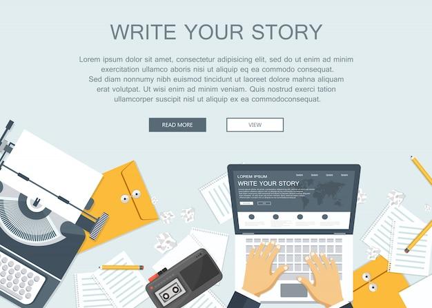 Scrivi la tua storia banner aziendale per il giornalismo