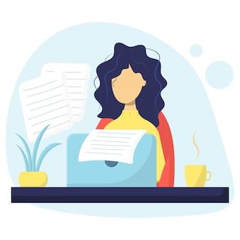 Scrittore autore di contenuti il concetto di creazione di articoli di blog