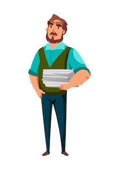 Personaggio maschile scrittore con pagine di carta pile in mano