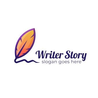 Il design del logo della storia dello scrittore con piuma e penna vecchio, firma del logo della piuma
