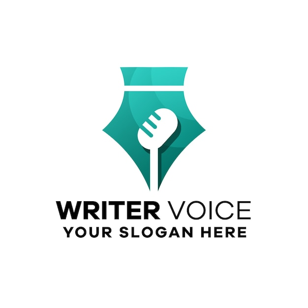 Modello logo gradiente voce scrittore
