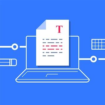 Scrittura di un documento, modifica del testo, foglio su computer, miglioramento del testo di un articolo, concetto di narrazione o copywriting, compilazione di un riepilogo, autore del contenuto, illustrazione