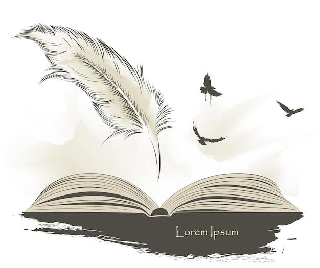 Penna da scrittura piuma multicolore con libro aperto di uccelli in volo.