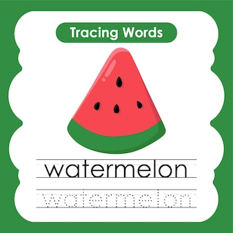 Esercizi di scrittura sulla traccia dell'alfabeto delle parole di frutta e verdura con w anguria