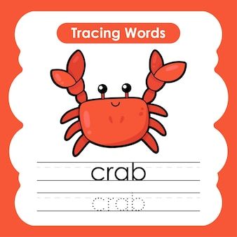 Scrittura pratica vita marina parole marine alfabeto che traccia con granchio