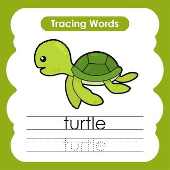 Scrivere pratica di vita marina parole marine alfabeto che traccia con t tartaruga