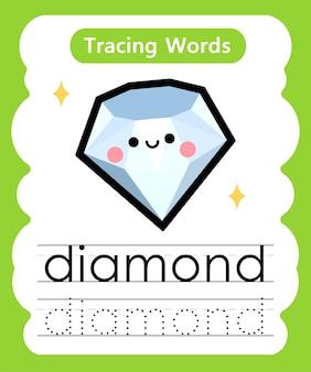 Scrittura di parole di pratica alfabeto che traccia d - daimond