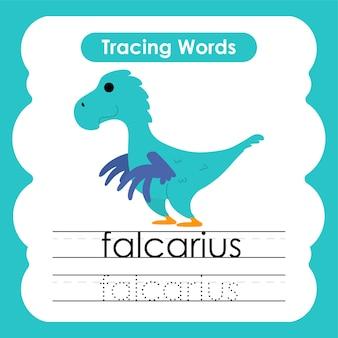Scrittura pratica parole traccia alfabeto f falcarius