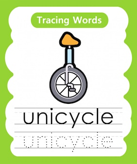 Scrivere parole di pratica: alphabet tracing u - unicycle