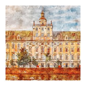Illustrazione disegnata a mano di schizzo dell'acquerello di wroclaw polonia