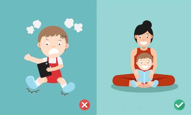 Modo sbagliato e giusto per i bambini smettere di usare lo smartphone