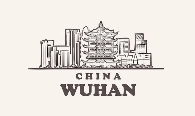 Illustrazione disegnata a mano della cina di schizzo di paesaggio urbano di wuhan