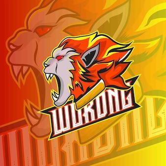 Modello di logo di gioco con emblema di esport di wukong monkey