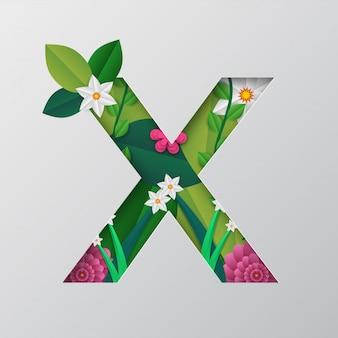 X alfabeto fatto da disegno floreale.
