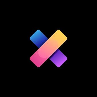 X letter logo design colorato gradiente