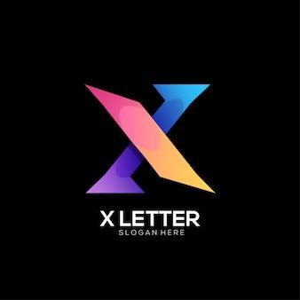 Gradiente di design colorato con logo lettera x