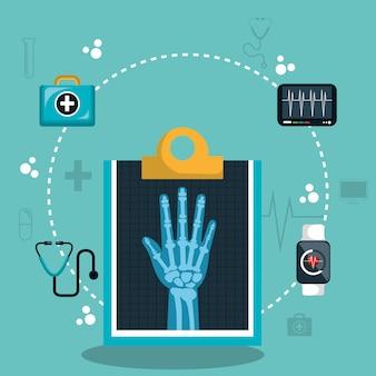 Assistenza sanitaria digitale a raggi x isolata