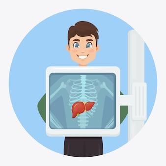 Macchina a raggi x per la scansione del corpo umano e del fegato