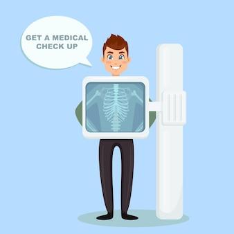 Macchina a raggi x per la scansione del corpo umano. roentgen dell'osso toracico. visita medica per intervento chirurgico