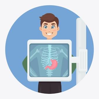 Macchina a raggi x per la scansione del corpo umano. ultrasuoni dello stomaco. visita medica per intervento chirurgico Vettore Premium