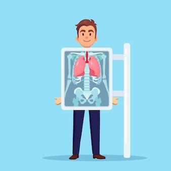 Macchina a raggi x per la scansione dei polmoni umani. roentgen dell'osso toracico. diagnosi di cancro, tubercolosi, polmonite. visita medica di infezioni respiratorie per intervento chirurgico. design piatto