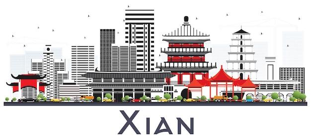 Skyline di xian cina con edifici di colore. viaggi d'affari e concetto di turismo con architettura storica. paesaggio urbano di xian con punti di riferimento.