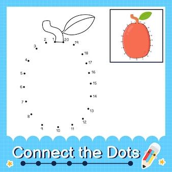 Il puzzle per bambini ximenia collega il foglio di lavoro a punti per i bambini che contano i numeri da 1 a 20
