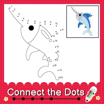 Il puzzle per bambini xiphias collega il foglio di lavoro dei punti per i bambini che contano i numeri da 1 a 20