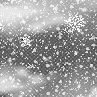 Sfondo di natale con fiocchi di neve che cadono su sfondo trasparente. vettore