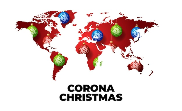 Pallina di natale palla con coronavirus sulla mappa di parole