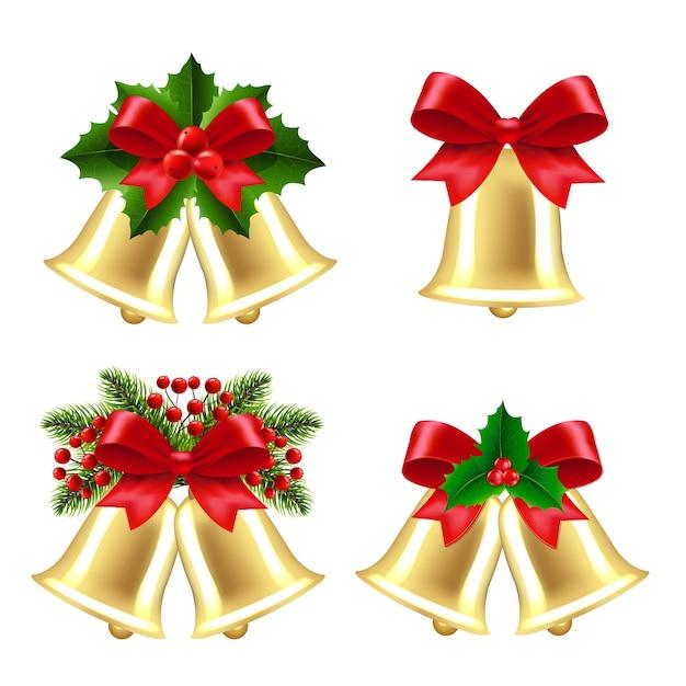 Set di campane di natale con bacche di agrifoglio